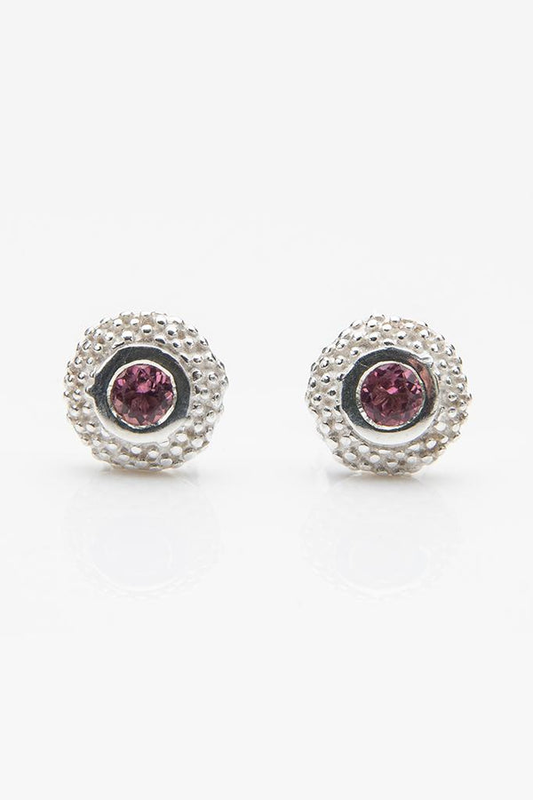 October Pink Tourmaline Bobbled Pollen Stud Earrings