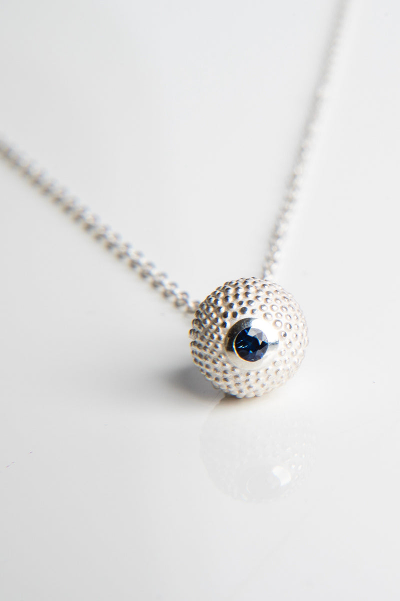 September Sapphire Birthstone Ball and Chain Pendant Necklace