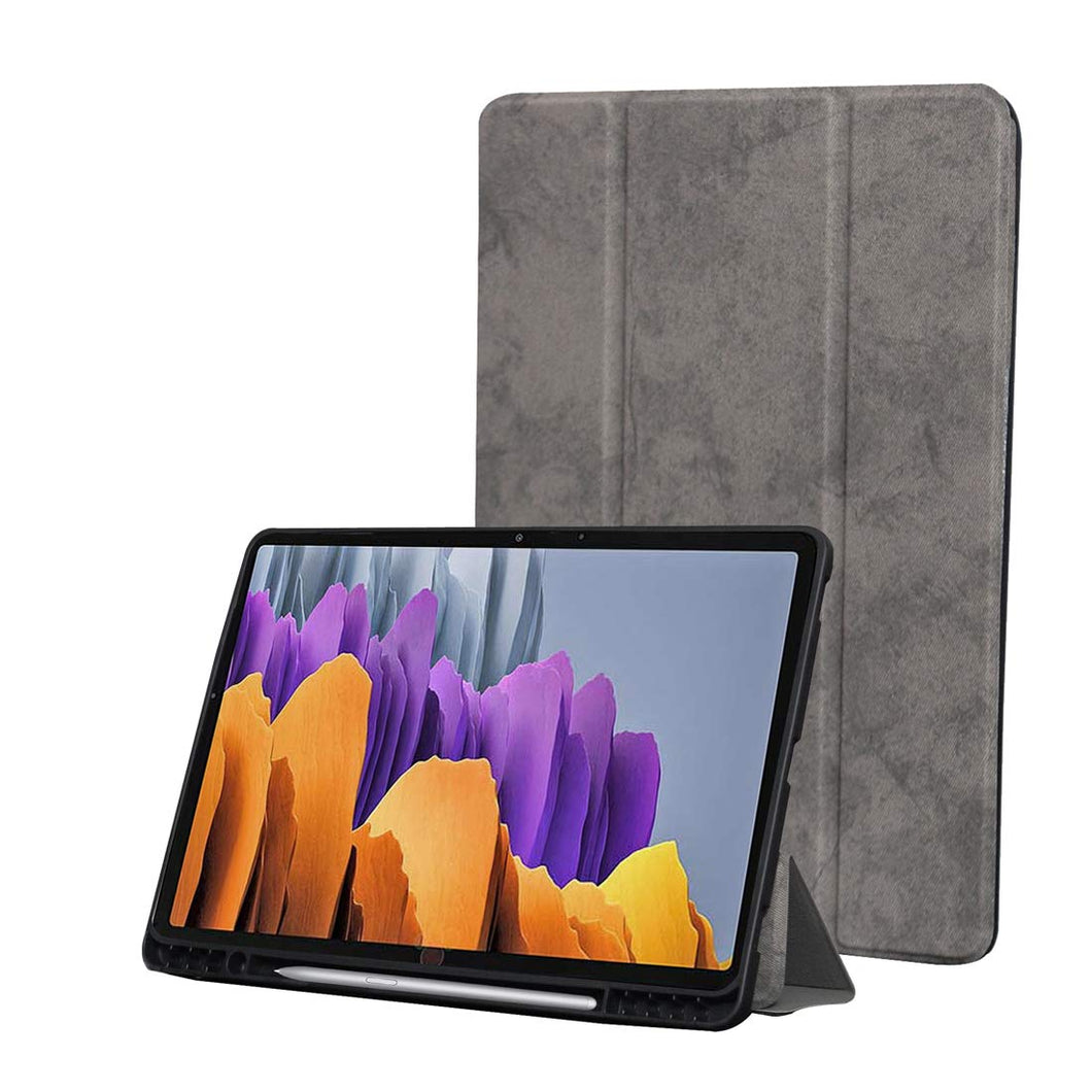 ProElite PU Smart Flip case Cover for Samsung Galaxy Tab S7 Plus 12.4 Inch SM-T970/T975/T976 with S Pen Holder , Grey