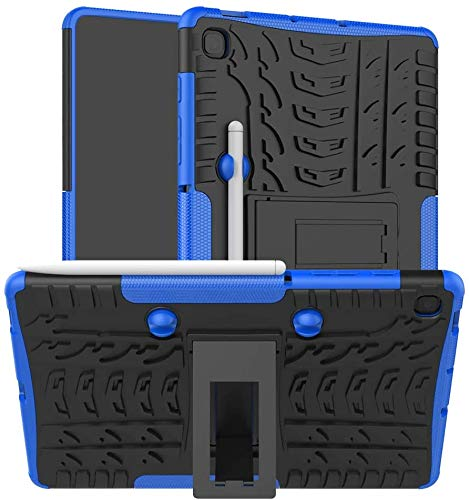 ProElite Shockproof Tough Heavy-Duty Armor Case with Pen Slot Cover for Samsung Galaxy Tab S6 Lite 10.4 Inch SM-P610/P615, Blue