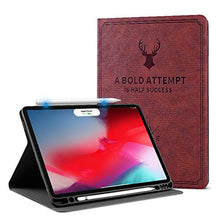 "Load image into Gallery viewer, ProElite Smart Deer Flip case Cover for Apple iPad Pro 11"" 2020, 2nd Generation with Pencil Holder (Wine Red)"