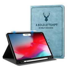 "Load image into Gallery viewer, ProElite Smart Deer Flip case Cover for Apple iPad Pro 11"" 2020, 2nd Generation with Pencil Holder (Light Blue)"