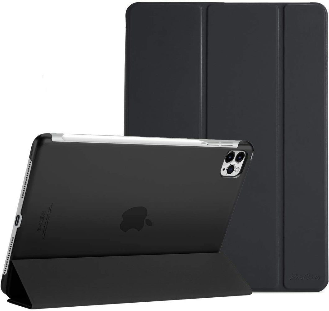 ProElite Smart Flip Case Cover for Apple iPad pro 12.9 2020 ,Translucent & Hard Back, Black [Support 2nd Gen Apple Pencil Charging]