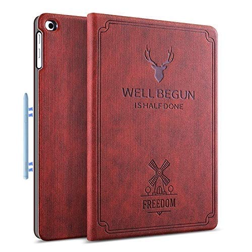 ProElite Deer Flip case Cover for Samsung Galaxy Tab S6 Lite 10.4 Inch SM-P610/P615 (Supports S Pen Magnetic Attachment), Wine Red
