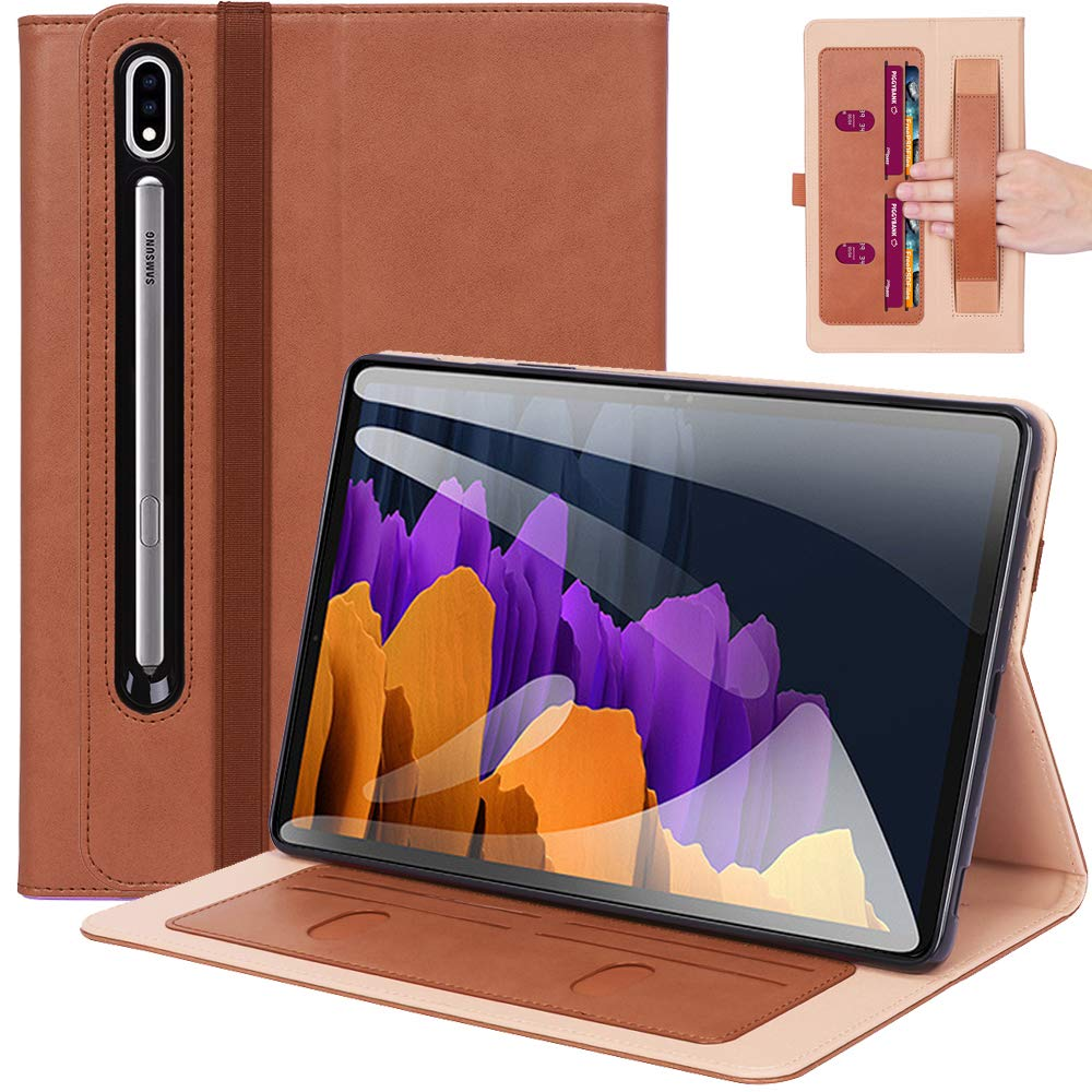 ProElite Business Smart Case Cover for Samsung Galaxy Tab Tab S7 Plus 12.4 Inch SM-T970/T975/T976 [Brown]