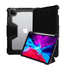 "Load image into Gallery viewer, ProElite Rugged Shockproof Armor Smart flip case Cover for Apple iPad Air 4 10.9"" with Pencil Holder, Black"