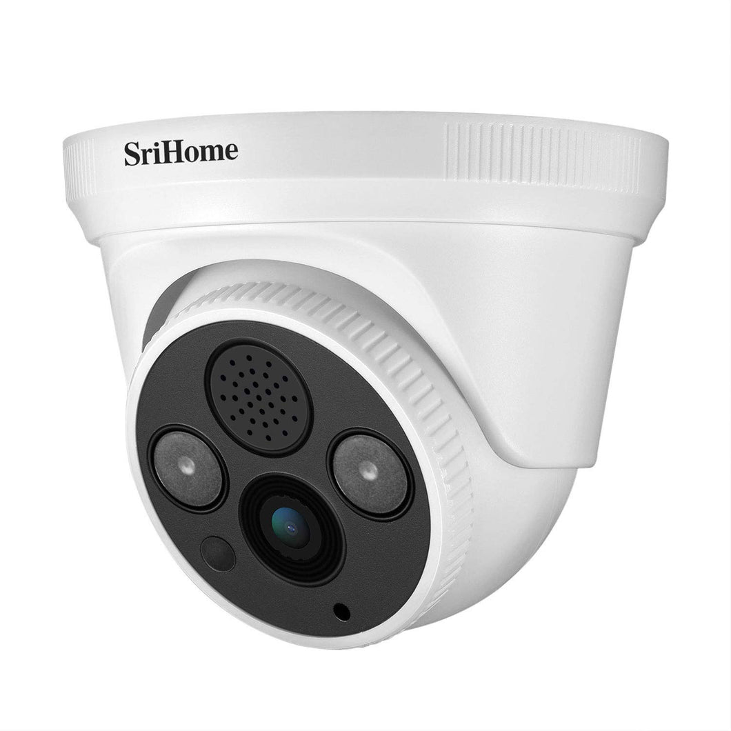 Srihome SH030b Dome POE 3MP Ultra HD 1296p IP Security Camera CCTV with 2 Way Audio