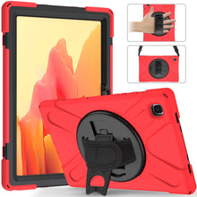 "Load image into Gallery viewer, ProElite Rugged 3 Layer Armor case Cover for Samsung Galaxy Tab A7 10.4"" SM-T500/T505/T507 Hand Grip and Rotating Kickstand, Red"