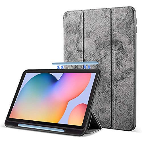ProElite PU Smart Flip case Cover for Samsung Galaxy Tab S6 Lite 10.4 Inch SM-P610/P615 with S Pen Holder , Grey