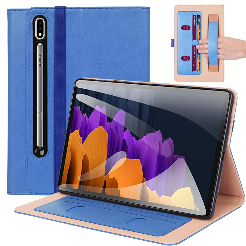 ProElite Business Smart Case Cover for Samsung Galaxy Tab Tab S7 Plus 12.4 Inch SM-T970/T975/T976 [Blue]