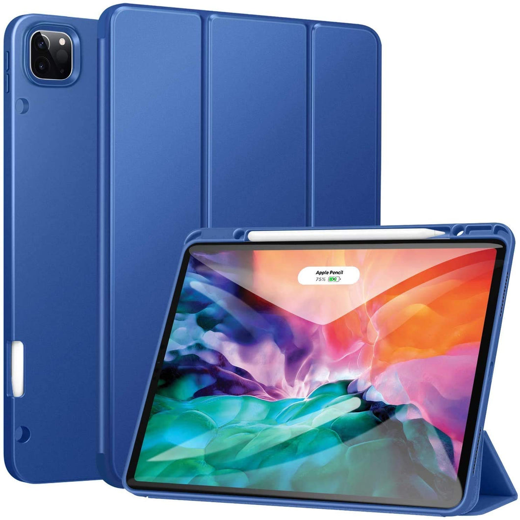 ProElite Smart Trifold Flip Case Cover for Apple iPad Pro 12.9 2020/2018 with Pencil Holder, Soft Flexible Back Cover, Dark Blue