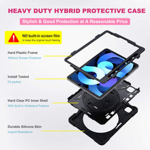 "Load image into Gallery viewer, ProElite Rugged 3 Layer Armor case Cover for Apple iPad Air 4 10.9"" with Hand Grip, Pencil Holder and Rotating Kickstand, Black"