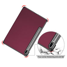 "Load image into Gallery viewer, ProElite Smart Trifold Flip case Cover for Samsung Galaxy Tab S7 11"" SM-T870/T875, Support S Pen Magnetic Attachment [Wine Red]"