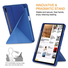 Load image into Gallery viewer, ProElite Smart Transformer Style Flip case Cover for Samsung Galaxy Tab S7 Plus 12.4 inch [SM-T970/T975/T976] with S Pen Holder, Dark Blue