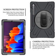 Load image into Gallery viewer, ProElite Rugged 3 Layer Armor case Cover for Samsung Galaxy Tab S7 Plus 12.4 Inch SM-T970/T975/T976 with SPen Holder, Hand Grip and Rotating Kickstand, Black