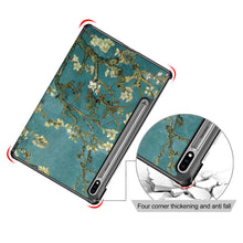"Load image into Gallery viewer, ProElite Smart Trifold Flip case Cover for Samsung Galaxy Tab S7 11"" SM-T870/T875, Support S Pen Magnetic Attachment [Flowers]"