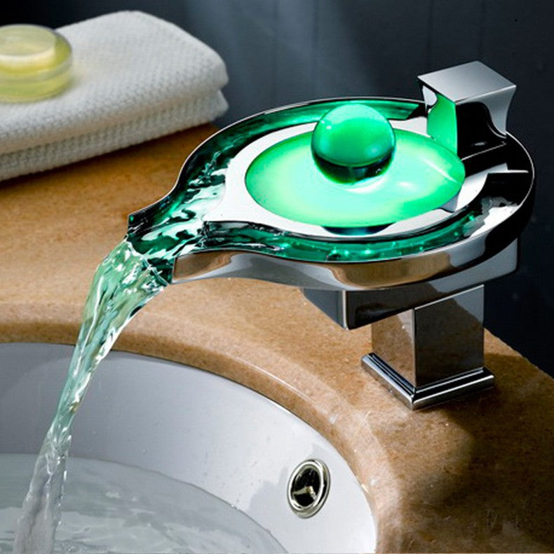 Faucet Brass Chromed RGB Colors Change Led Tap