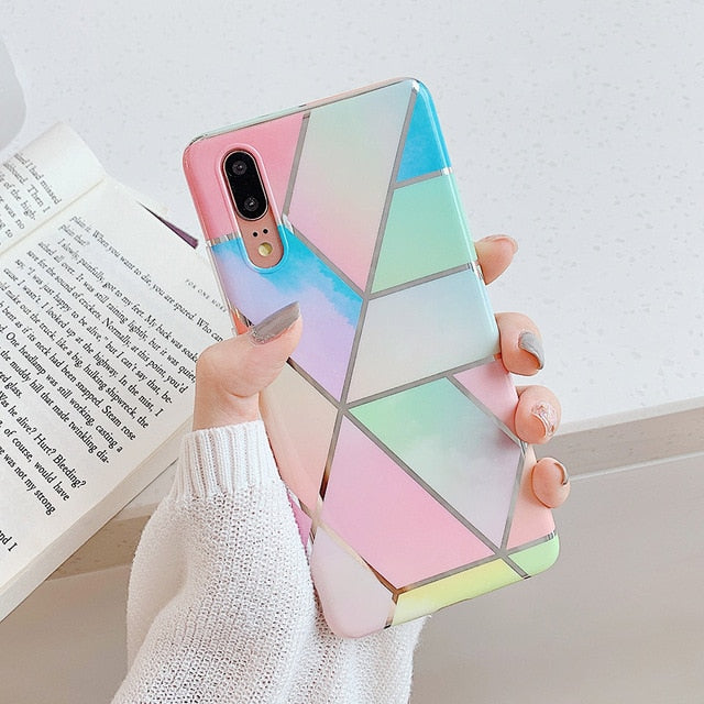 Geometric Marble Phone Case For Huawei
