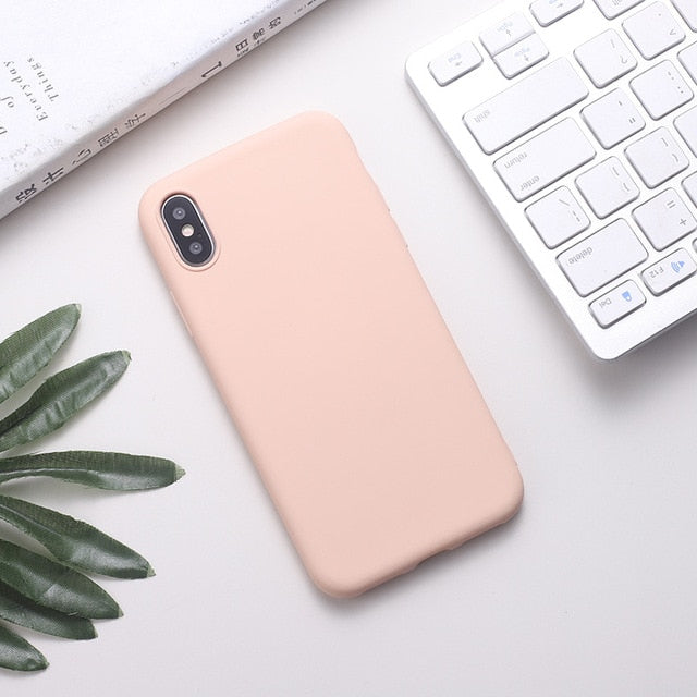 Silicone Solid Color Phone Case For Huawei P Series - Soft Pink