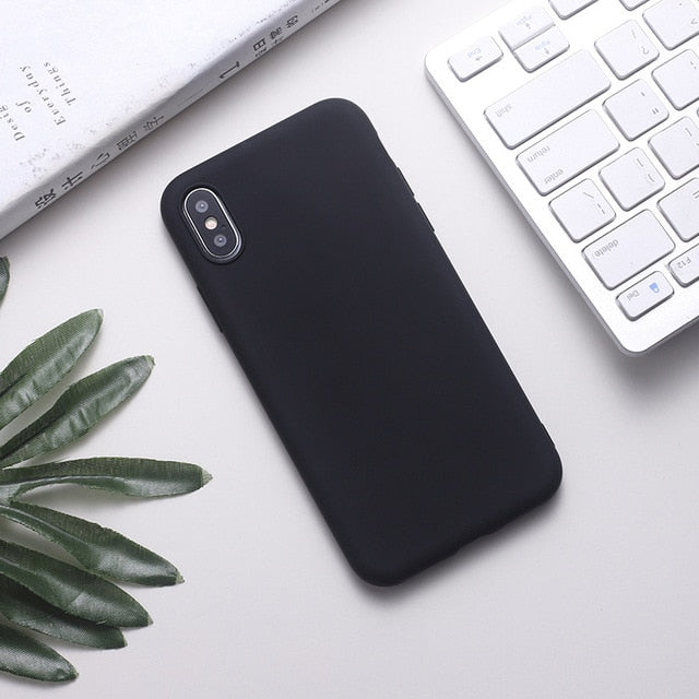 Silicone Solid Color Phone Case For Huawei P Series - Black