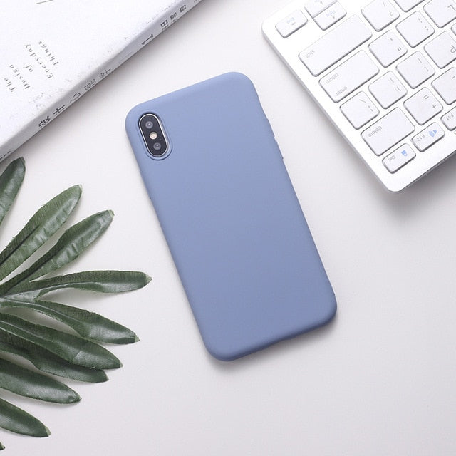 Silicone Solid Color Phone Case For Huawei P Series - Soft Blue