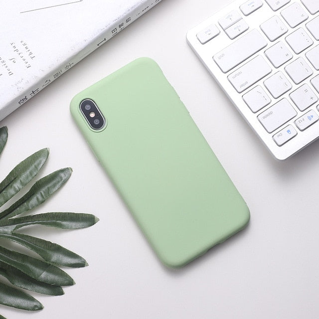 Silicone Solid Color Phone Case For Huawei P Series - Light  Green