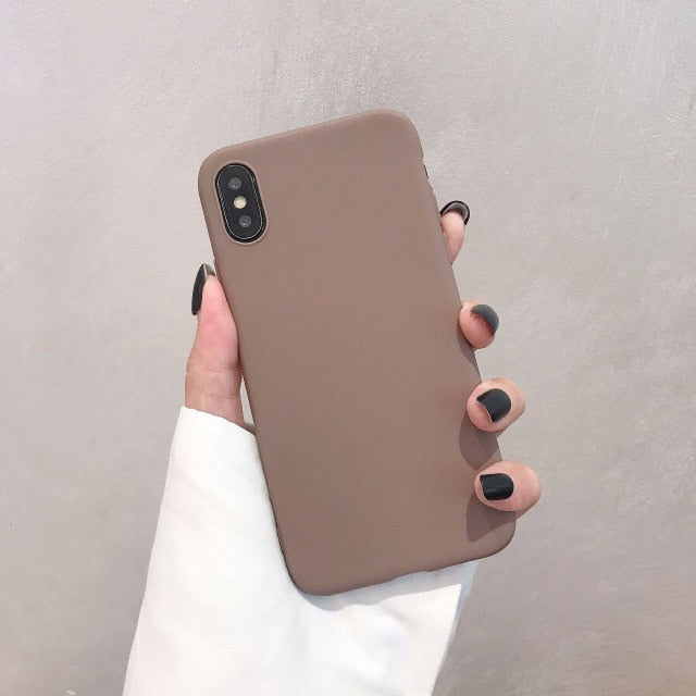 Silicone Solid Color Phone Case For Huawei P Series - Brown
