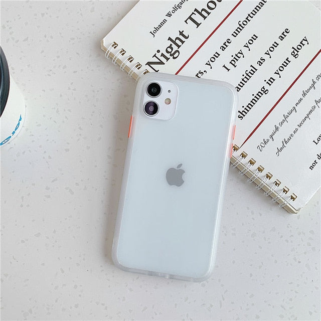 Mint Hybrid Simple Matte Bumper Phone Case For iPhone - White