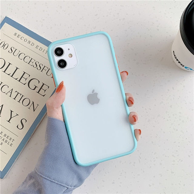 Mint Hybrid Simple Matte Bumper Phone Case For iPhone - Light Blue