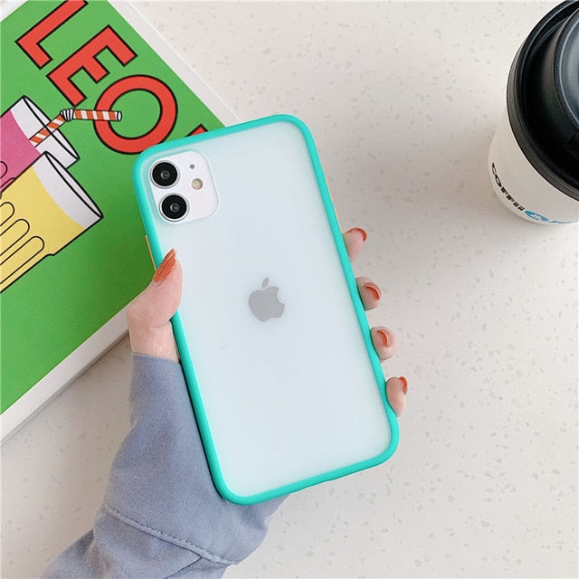 Mint Hybrid Simple Matte Bumper Phone Case For iPhone - Bright Blue