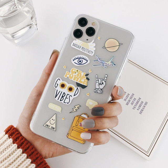 Abstract Clear Cartoon Phone Case For iPhone