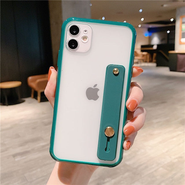 Wrist Strap Candy Color Phone Case For iPhone - Teal