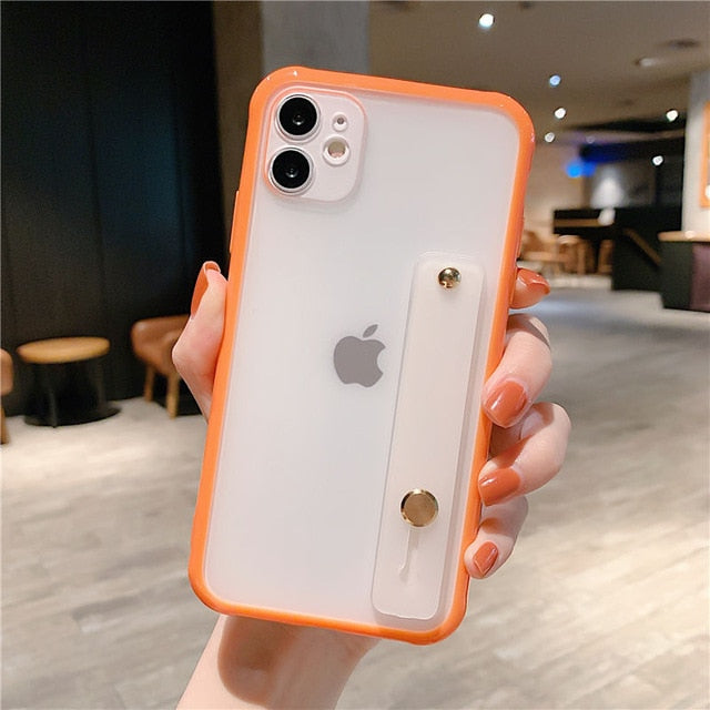 Wrist Strap Candy Color Phone Case For iPhone - Orange & White
