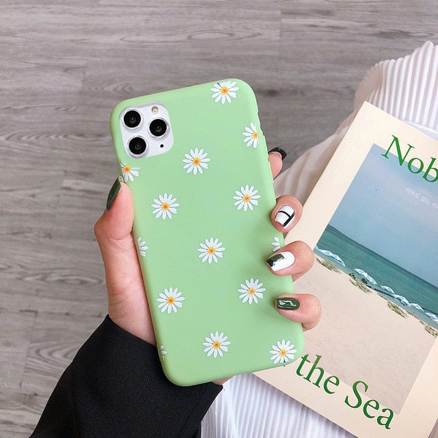 Daisy Phone Case For iPhone - Soft Flower Lime Green