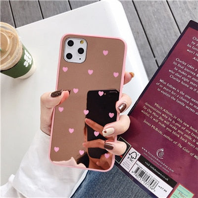 Luxury Makeup Mirror Heart Phone Case For iPhone