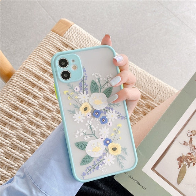 Flowers Case For iPhone 7 - 12 Pro Max - Soft Bumper Case With 3D Texture Feel