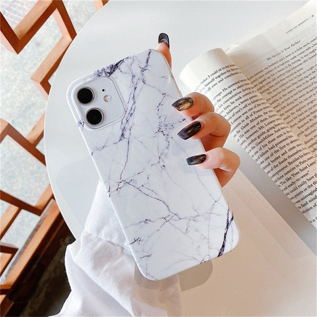 Marble Stone Texture Phone Case For iPhone Purple