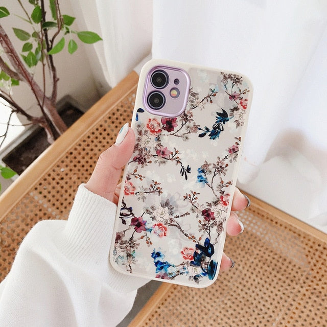 Luxury Cover Plating Floral Case for iPhone 7 - 12 Pro Max