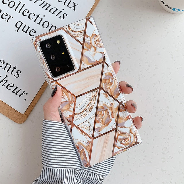 Rose Geometric Flower Phone Case For Samsung Galaxy S-Series Note-Series and A-Series