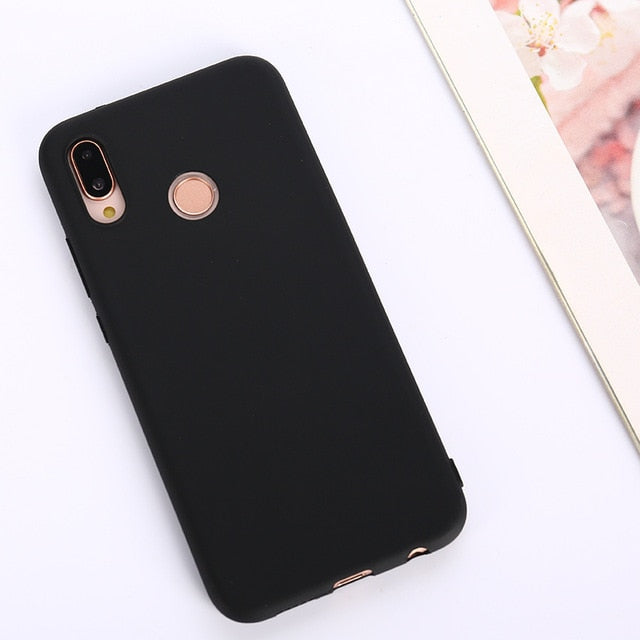 Candy Color Soft Case Cover for Huawei P Series - Black