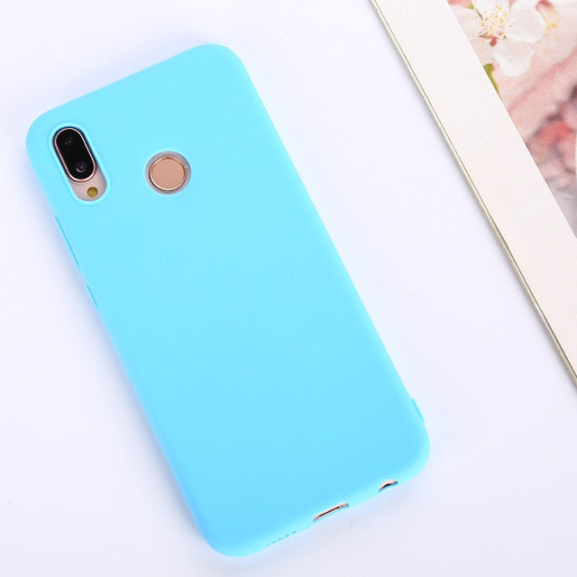 Candy Color Soft Case Cover for Huawei P Series - Bright Blue