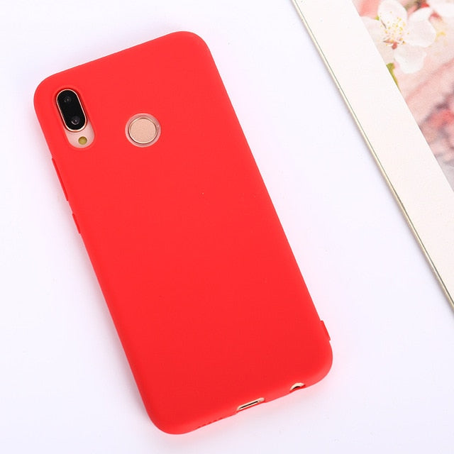 Candy Color Soft Case Cover for Huawei P Series - Red