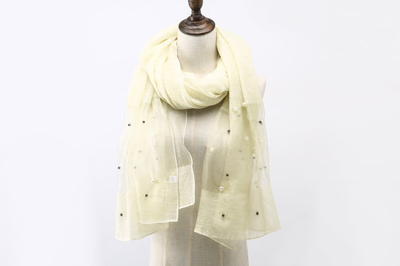 A101 Beige Sheer Spring Scarf with Pearl
