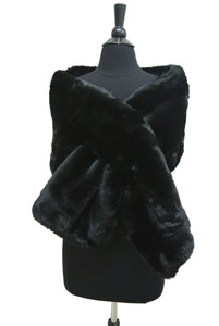 HX208 Wide Solid Color Faux Fur Wrap/Scarf for Winter