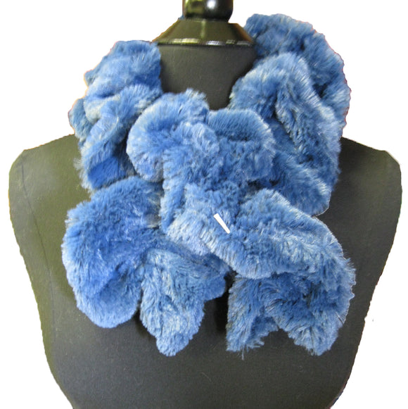 6001 Solid Color Faux Fur Ruffle Winter Scarf