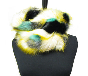 16705 Colorful Faux Fur Winter Infinity Scarf