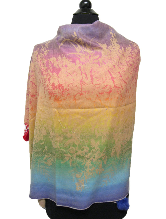 1400B Rainbow Pashmina with Fur Pom Pom