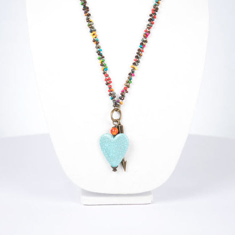 Long, Colorful Beaded Necklace, Large Blue Heart, Bronze Arrow Necklace