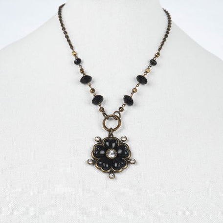 Black Clover Medallion Necklace with Crystals