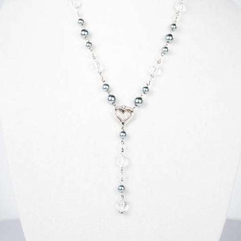 Silver, Crystal and Pearl Lariat Necklace